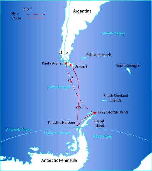 Route Map for the Antarctica Fly South – Cruise North Tour