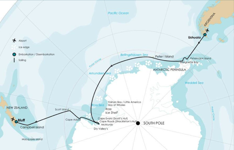 Route Map for the Ross Sea Cruise